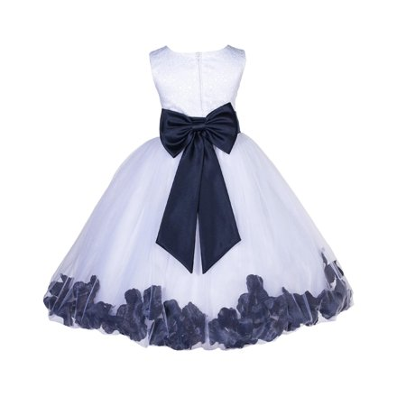 Martin Halloween Special (Ekidsbridal Lace Top Floral Petals White Flower Girl Dress Tulle Weddings Summer Easter Dress Special Occasions Pageant Toddler Girl's Clothing Holiday Bridal Baptism Size S M 2 4 6 8)