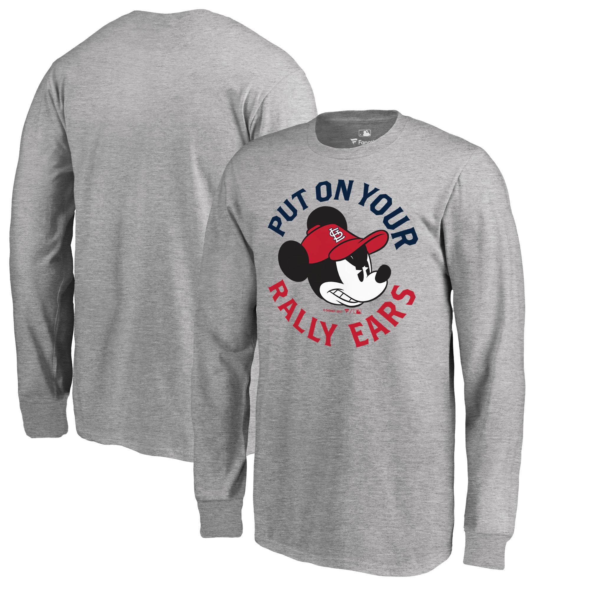 St. Louis Cardinals Fanatics Branded Youth Disney Rally Ears Long Sleeve T-Shirt - Heathered Gray