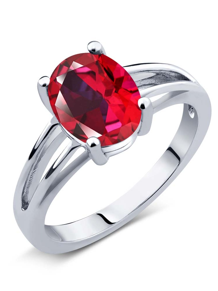925 Sterling Silver Solitaire Ring Set with Blazing Red Topaz from Swarvoski by