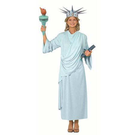 Statue Of Liberty Dress Patriotic American Usa Adult Halloween Costume and Torch