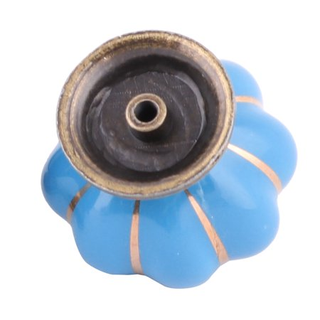Household Ceramic Pumpkin Shaped Furniture Cupboard Wardrobe Pull Handle Blue - image 2 of 5