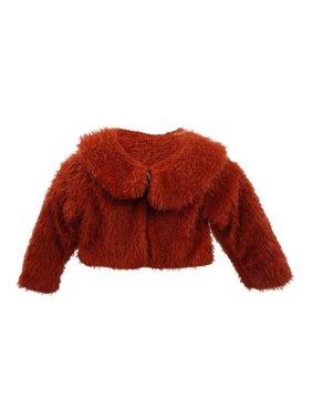 Little Girls Red Trendy Collar Soft Beautiful Design Faux Fur Jacket