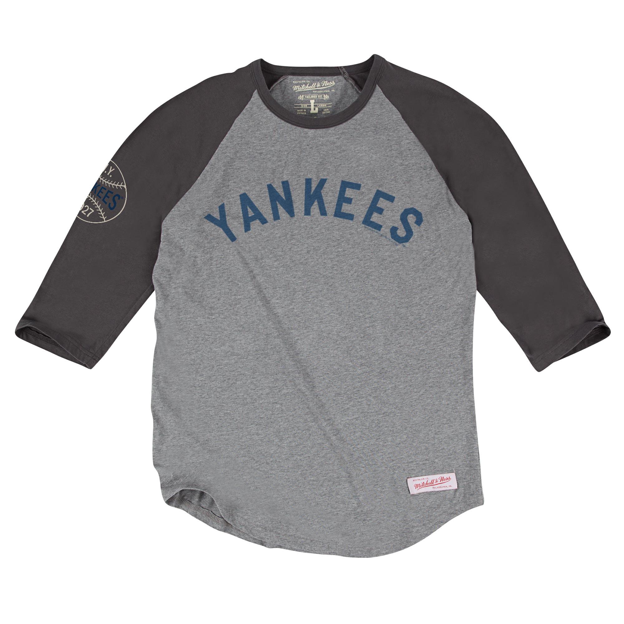 Men's Mitchell & Ness Gray New York Yankees Top of the Inning Three-Quarter Sleeve Raglan T-Shirt