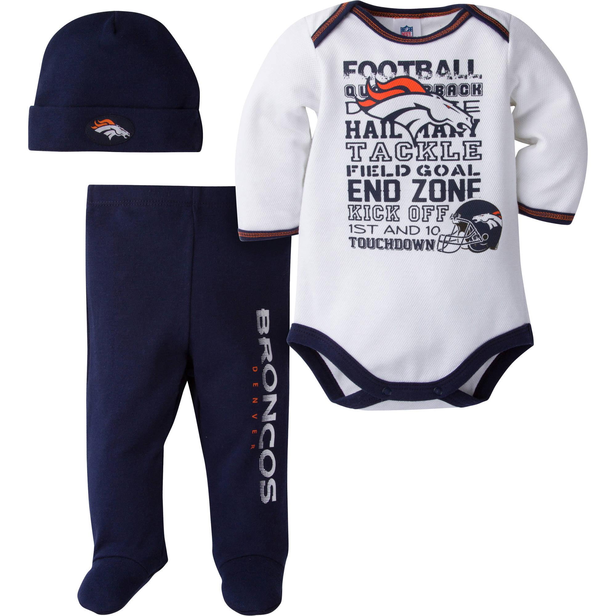 NFL Denver Broncos Baby Boys Bodysuit, Pant and Cap Outfit Set, 3-Piece