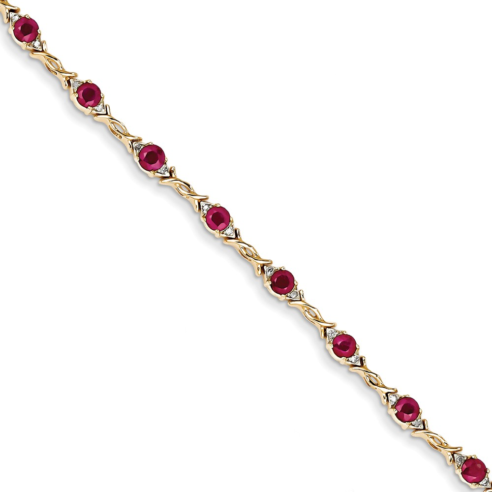 14K Yellow Gold Diamond and Ruby Bracelet 7inch by Diamond2Deal