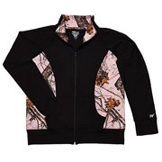 black active jacket with pink mossy oak camo trim womens large