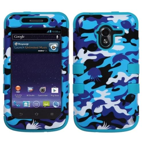 Insten Aquatic Camouflage Tropical Teal Green TUFF Hybrid Hard Shockproof Phone Case For ZTE N9120 Avid 4G