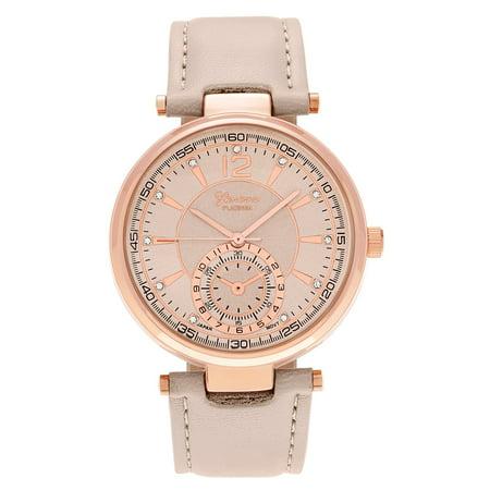 058042afc40 Geneva - Geneva Platinum Women s Round Face Rhinestone Accent Dial Faux  Leather Strap Watch - Walmart.com
