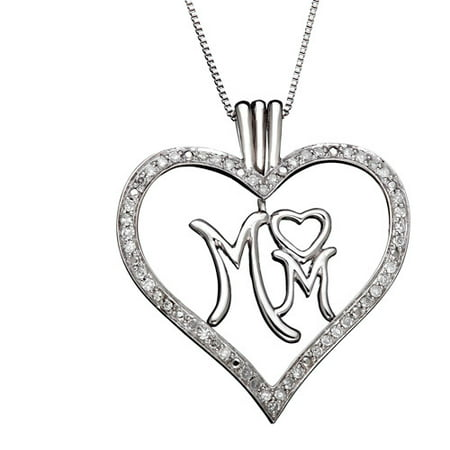 1/4 Carat T.W. Diamond and Sterling Silver Mom Heart Pendant, 18