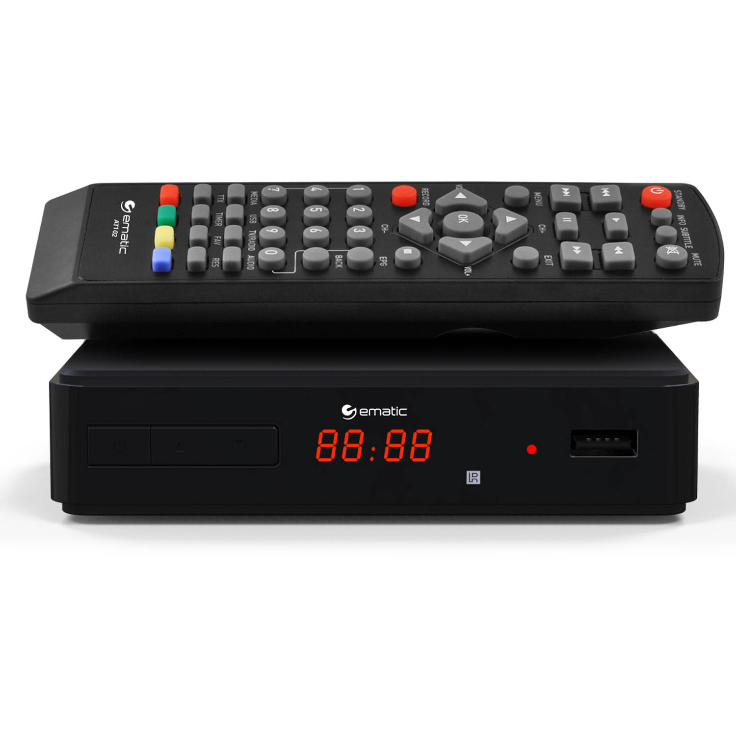 Ematic AT102 Digital TV HD Converter Box with LED Display and Recording Capabilities