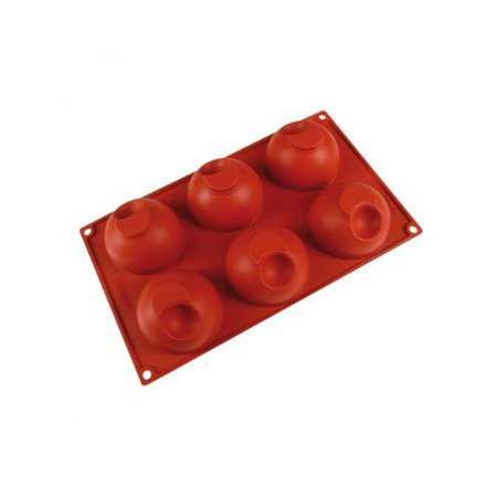 """Pavoni Silicone Bake Mold Dimpled Dome Shape 2-7/8"""" x 1-3/4 High, 6 Cavities"""