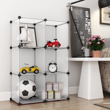LANGRIA Storage Rack, 6-Cube Interlocking Modular Open Storage Cubes Organizer Shelving System Closet Wardrobe Rack for Home Clothes, Shoes Toys and Rabbit, Guinea Pigs, Puppy Pet Products