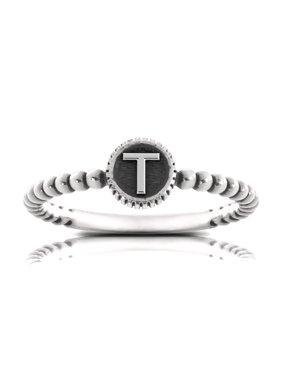 Bixler Alphabet Beaded Shank 'T' Ring In Sterling Silver