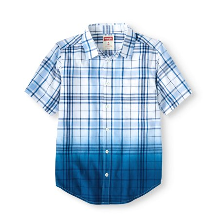 Boys Short Sleeve Plaid Button Up Top