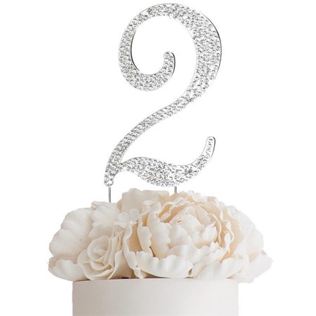 "Efavormart 4.5"" Bedazzling Rhinestone Number Cake Toppers For Wedding Birthday Party Special Event Personalized Decorations"