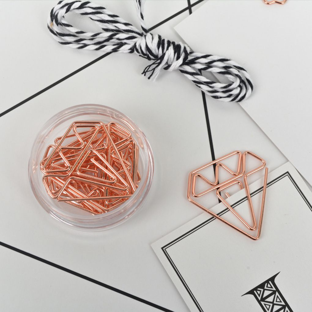 Colorido 5Pcs Multifunctional Metal Hollowed Paperclips Metal Paper Clips for School Office Supplies Rose Gold