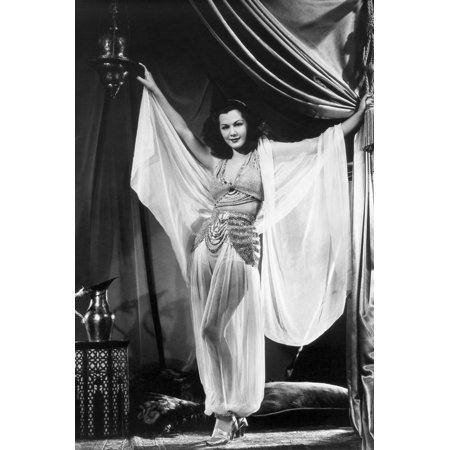 Maria Montez in Arabian Nights seductive see thru outfit arms outstretched 24x36 Poster