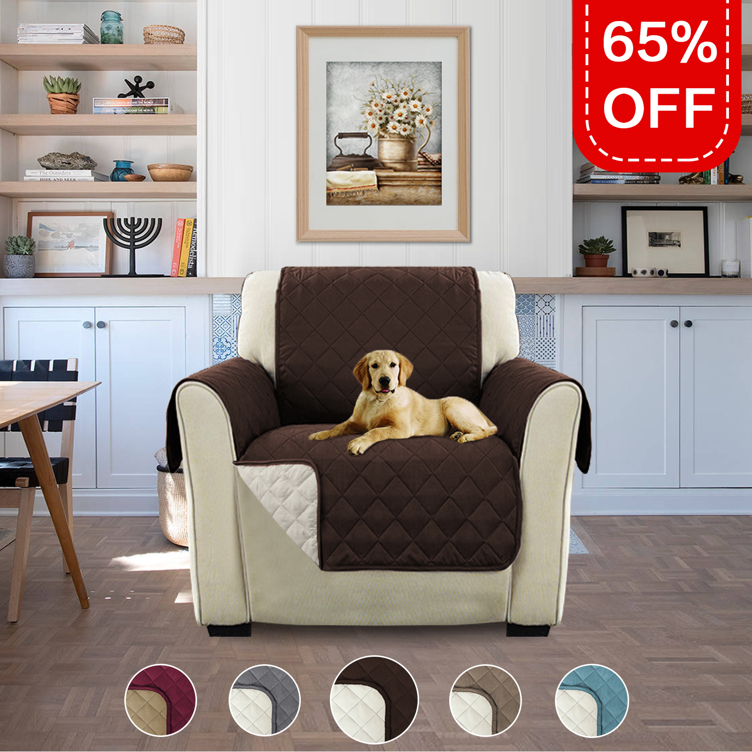 Reversible Water Prevent Faux Suede Furniture Protector, Features Protect from Pets, Spills, Wear and Tear (79 inch x 68 inch for Recliner, Smoke Blue/Beige)