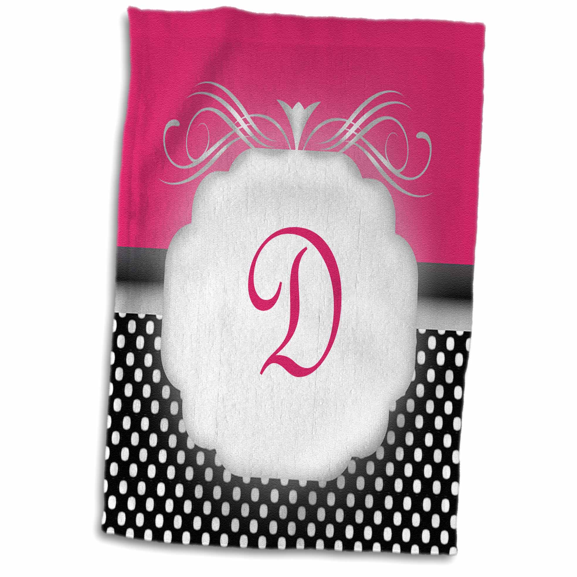 3dRose Elegant Pink with Black and White Polka Dot Monogram Letter D - Towel, 15 by 22-inch