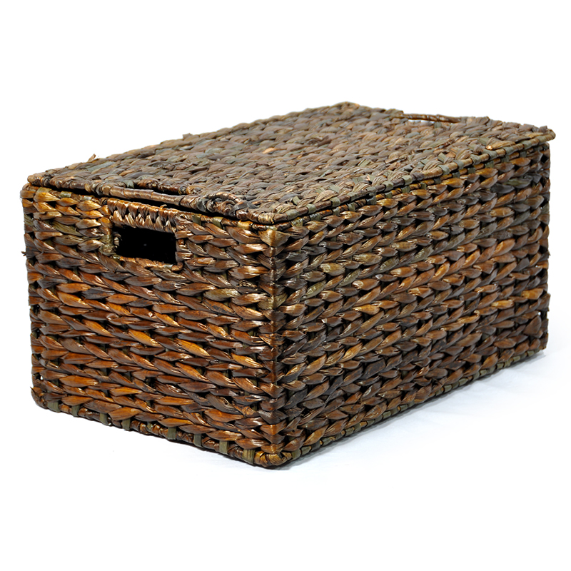Audrey Mahogany Storage Basket Removable Lid - Small 16in
