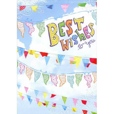 Designer Greetings Color Flags Hanging from Lines Best Wishes Congratulations