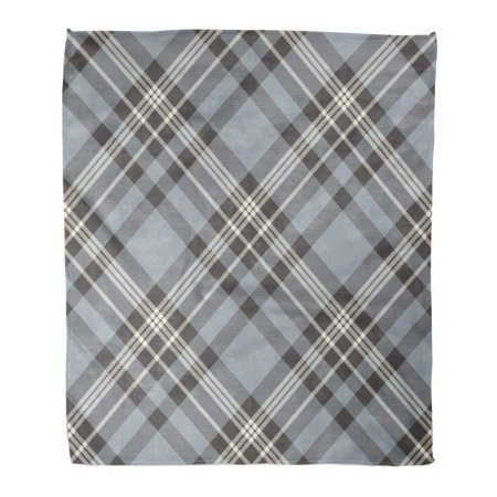 SIDONKU Flannel Throw Blanket Gray Border Plaid Check Pattern in Dusty Blue Charcoal Soft for Bed Sofa and Couch 58x80 Inches