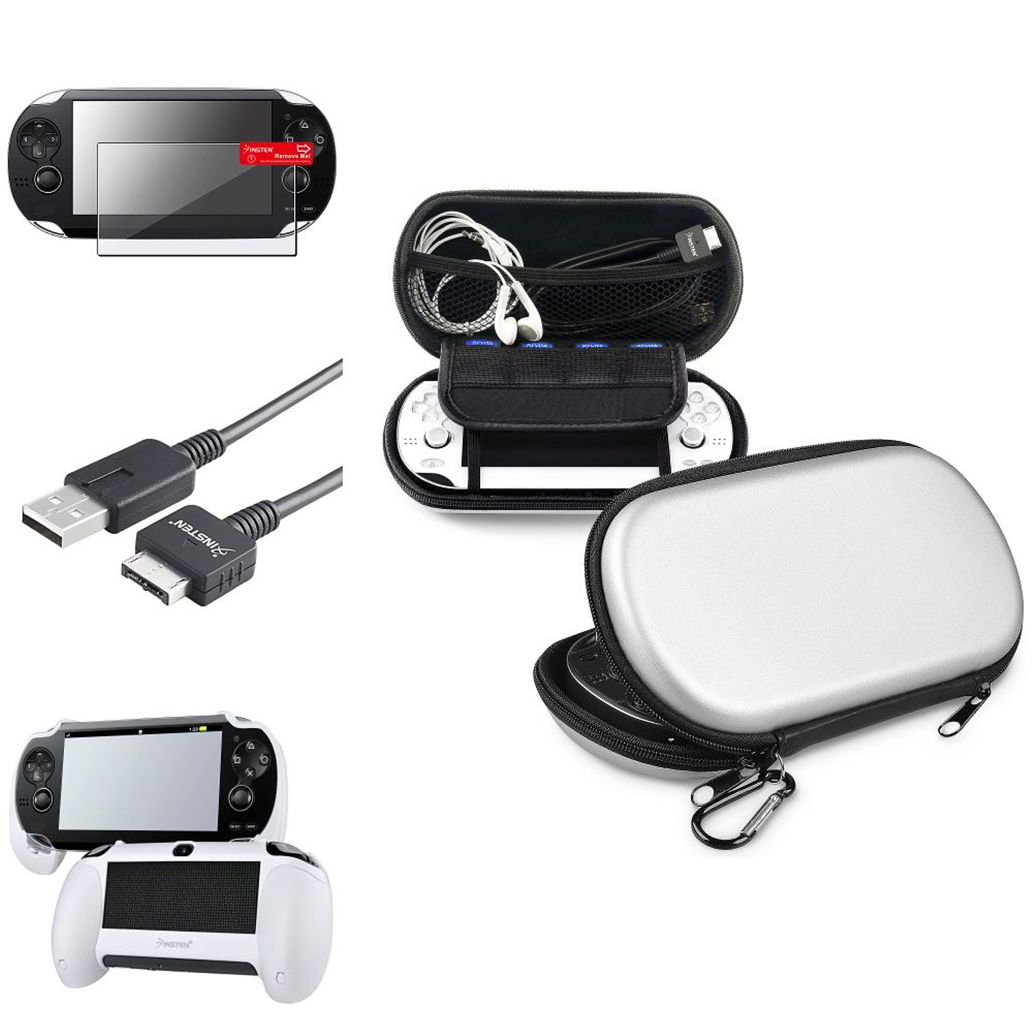 Insten White Hand Grip+Screen Protector+Silver EVA Case+USB Cable For Sony PS Vita PSV