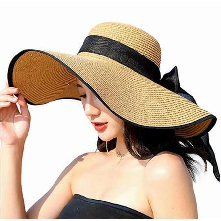 Home Cal Women Big Brim Sun Hat Beach seaside sun protection Ladies Fashion Solid Color Sun Hat UPF (Beach Hat)