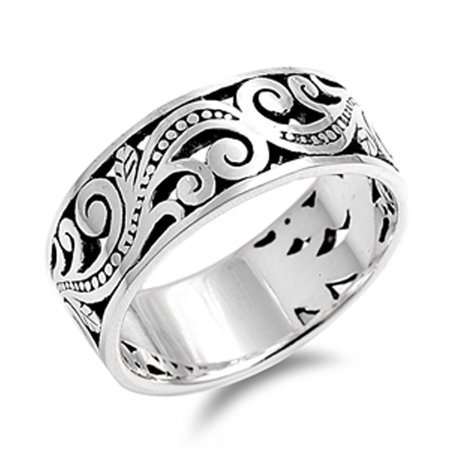 - Oxidized Filigree Floral Bali Bead Wide Ring ( Sizes 8 9 10 11 12 13 14 15 ) 925 Sterling Silver Band Rings (Size 13)