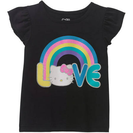 Hello Kitty Toddler Girls' Flutter Sleeve Love T-Shirt