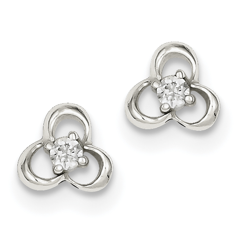 Sterling Silver Polished CZ Post Earrings QE9214 - image 2 de 2