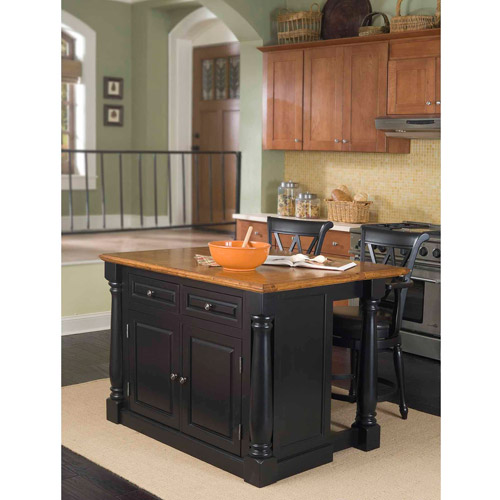 Home Styles Monarch Black/Distressed Oak Island and 2 Stools
