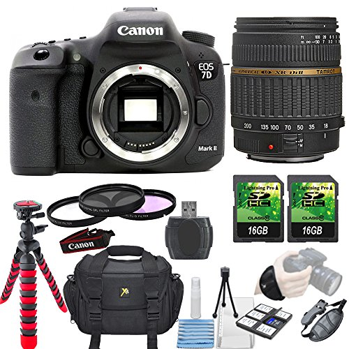 Canon EOS 7D Mark II 20.2MP DSLR Camera + Tamron 18-200mm Di II LD Lens + 3 piece Filter Kit+ 2 pc 16GB Memory... by Paging Zone