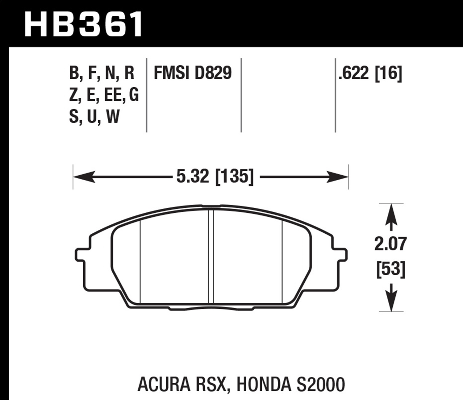 Hawk Perf HB361G.622 DTC-60 Front Disc Brake Pad Fits 00-09 S2000//06-11 Civic