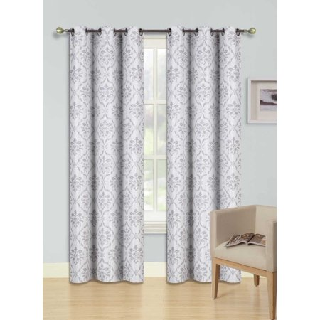 "DINO SILVER Printed Thermal Insulated 100% BLACKOUT Grommet Top Window Curtain Treatment, Set of Two (2) Floral Swirl Pattern Darkening Panels 37""in Wide x 84""in Length (Each)"
