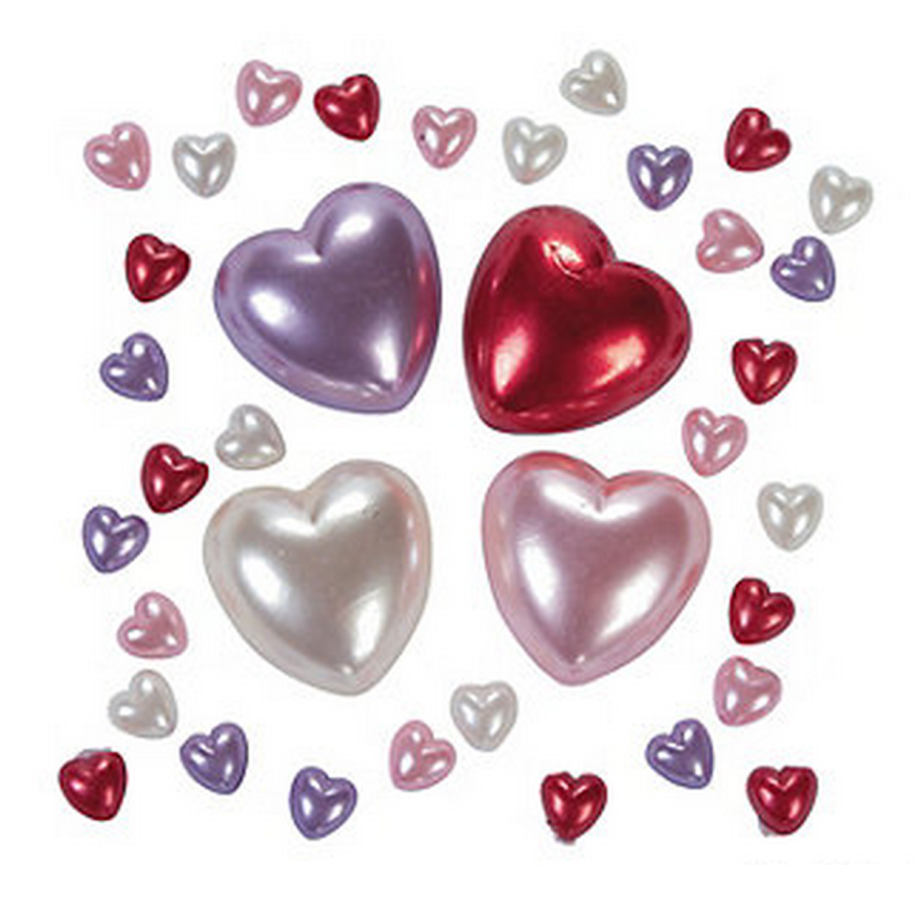 Self-Adhesive Jewels - Pearl Hearts, approx. 100/pk