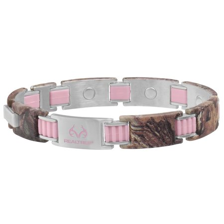 Realtree Women's 448 Pink Link and Camo Magnetic Bracelet for $<!---->