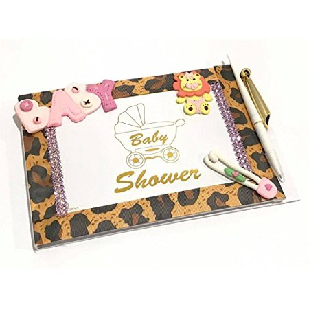 Jungle Baby Shower Leopard Theme Guest Book with Baby Girl Lion Keepsake Gift - Baby Jungle Baby Shower Theme