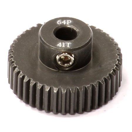 - Integy RC Toy Model Hop-ups C24286 Billet Machined Hard Anodized Aluminum 64 Pitch Pinion 41 Teeth for 0.125 Shaft