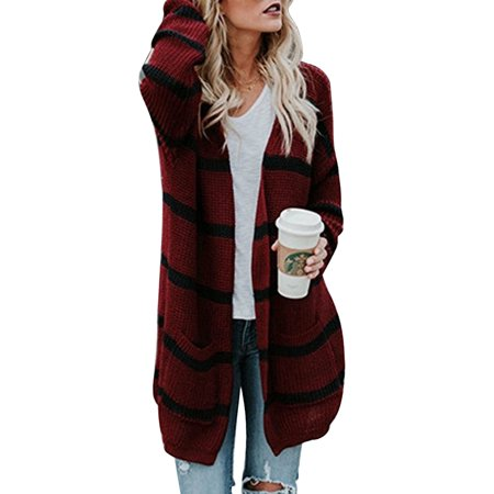 099595522 Women Long Sleeve Knitted Cardigan Sweater Striped Pocket Outwear Coat Open  Front Jacket Baggy Loose Winter Knitwear