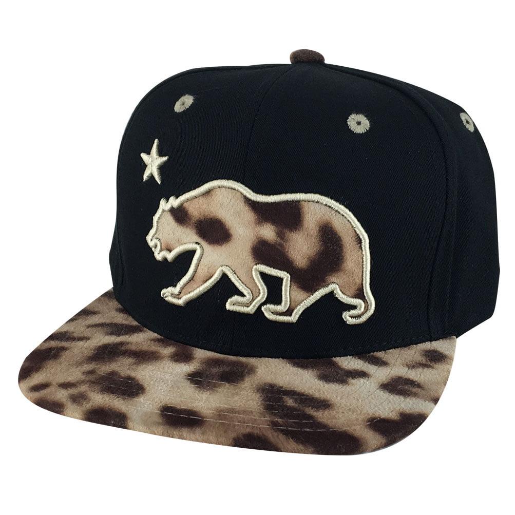 ... where to buy california republic snapback hat cap black leopard print  logo visor 02c4a a8e98 8bf5ecd34d47