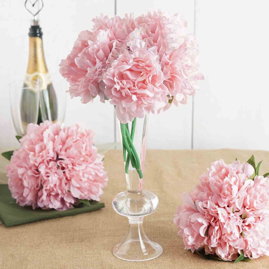 "Efavormart 5 Head Artificial Peony Silk Bouquet for DIY Wedding Bouquets Centerpieces Decorations - 11"" tall"