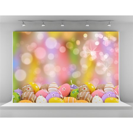 HelloDecor Polyster 7x5ft Colorful Eggs Photo Backdrops Glitter Spots Bokeh Background for Easter Backdrop](Easter Backdrops)