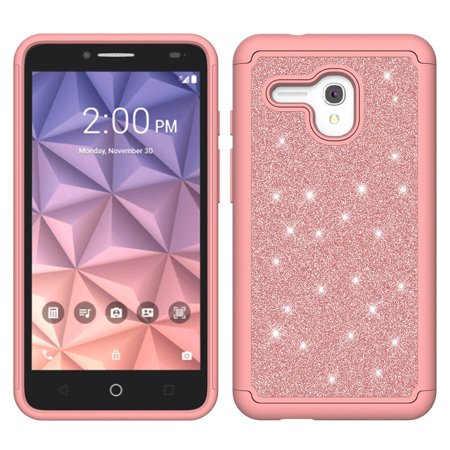 buy online 88b51 fef7e Alcatel OneTouch Fierce XL / Flint / Pixi Glory 4G LTE Diamond Glitter Case  Shock Proof Hybrid Case with [HD Screen Protector] Protector - Rose Gold