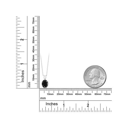 1.66 Ct Oval Shape Black Sapphire Sterling Silver Pendant - image 1 de 3