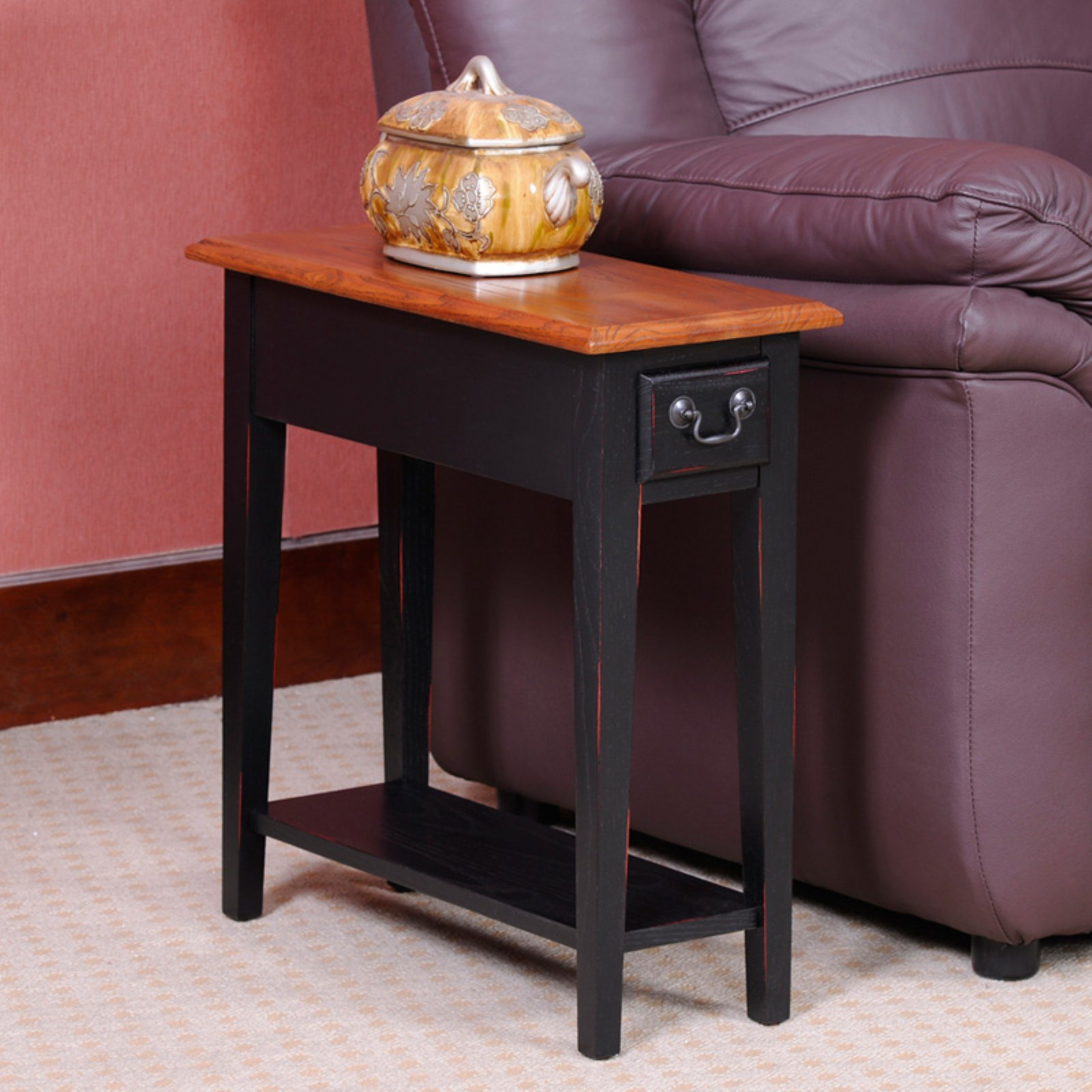 Hardwood 10 Inch Chairside End Table In Black And Oak