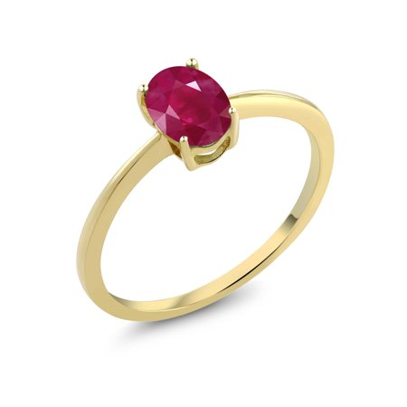Gold Red Ruby Ring - 1.02 Ct Oval Red Ruby 10K Yellow Gold Solitaire Engagement Ring