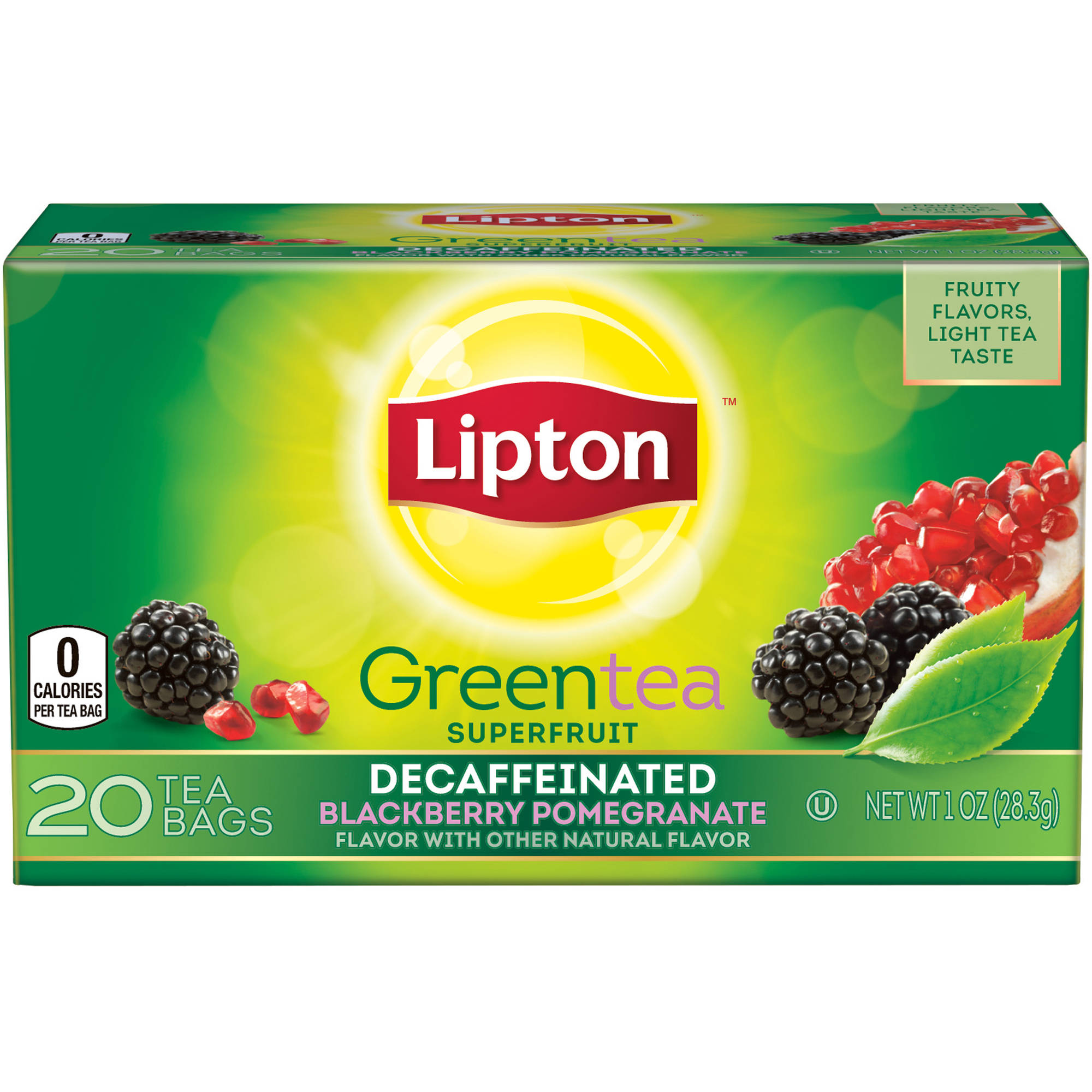 Lipton Decaffeinated Blackberry Pomegranate Green Tea Bags, 20 ct