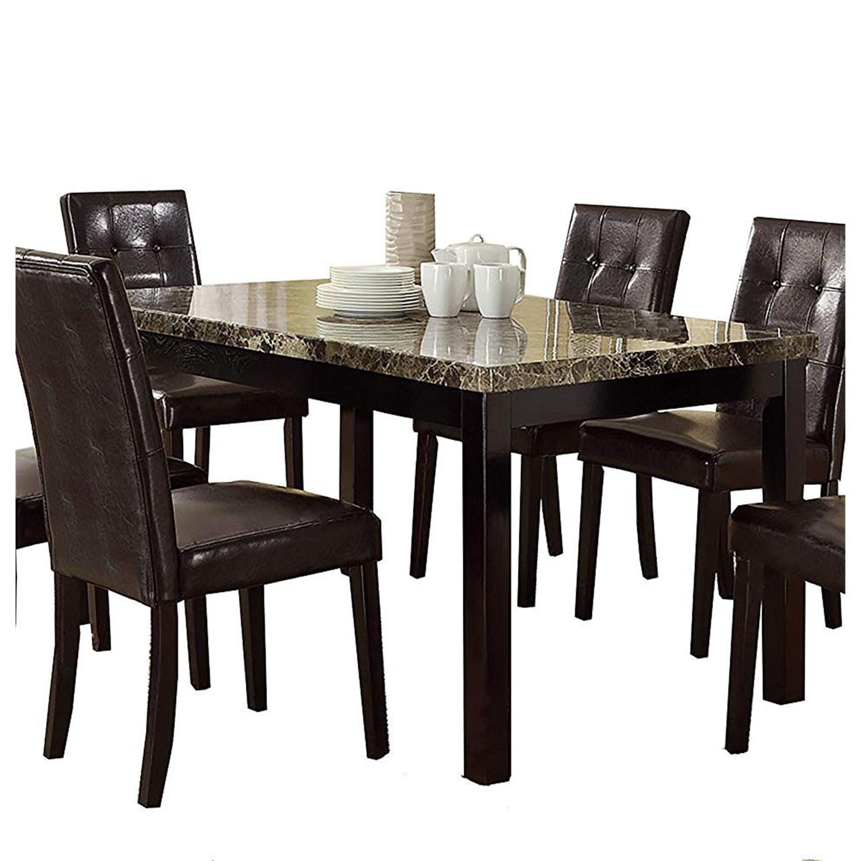 Benzara Faux Marble Pine Wood Dining Table Color Brown Walmart Com Walmart Com