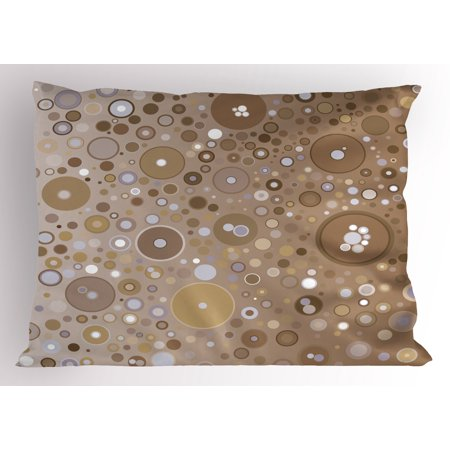 Tan Pillow Sham Soft Colored Circles and Dots in Different Sizes Bubble Shapes Artistry, Decorative Standard Size Printed Pillowcase, 26 X 20 Inches, Tan Pale Purple Cream, by Ambesonne (Colored Bubbles)